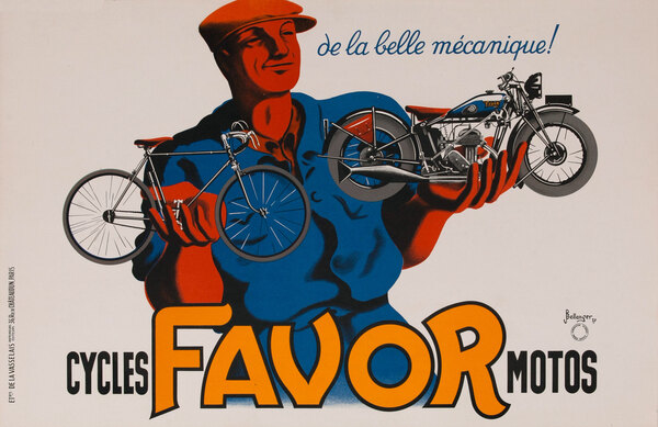 Favor Motorcycle and Bicycle Original Vintage Poster horizontal