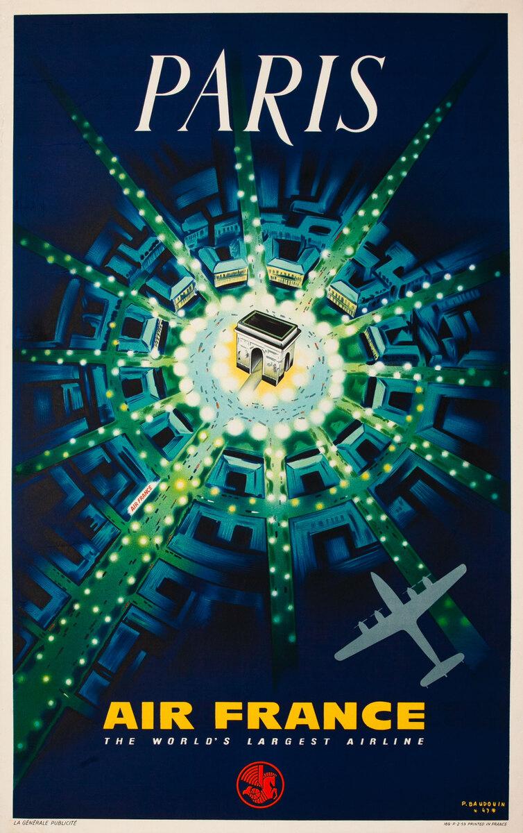 Air France Arc de Triomphe Original Travel Poster 1959