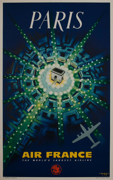 Air France Arc de Triomphe Original Travel Poster 1959