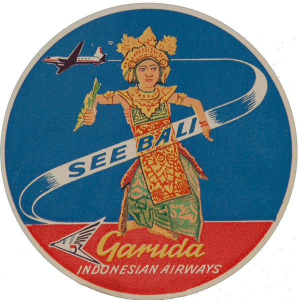 See Bali, Garuda Indonesian Airways Luggage Label