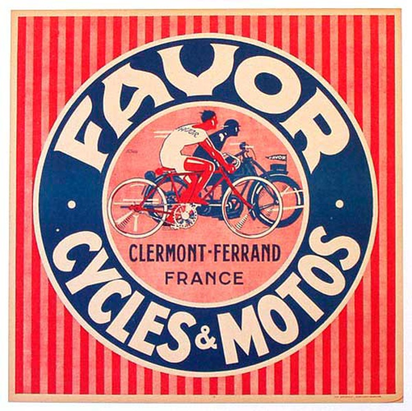 Favor Motorcycle and Bicycle Original Vintage Poster Square