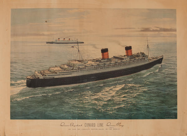 Cunard Line Queen Elizabeth Queen Mary Cruise Line Poster