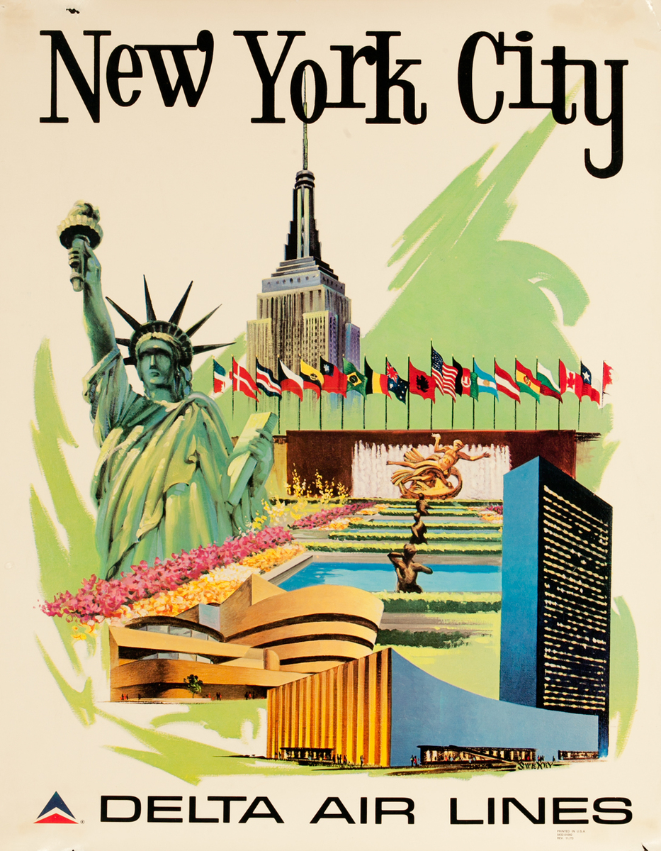 New York City Delta Air Lines Travel Poster Icons