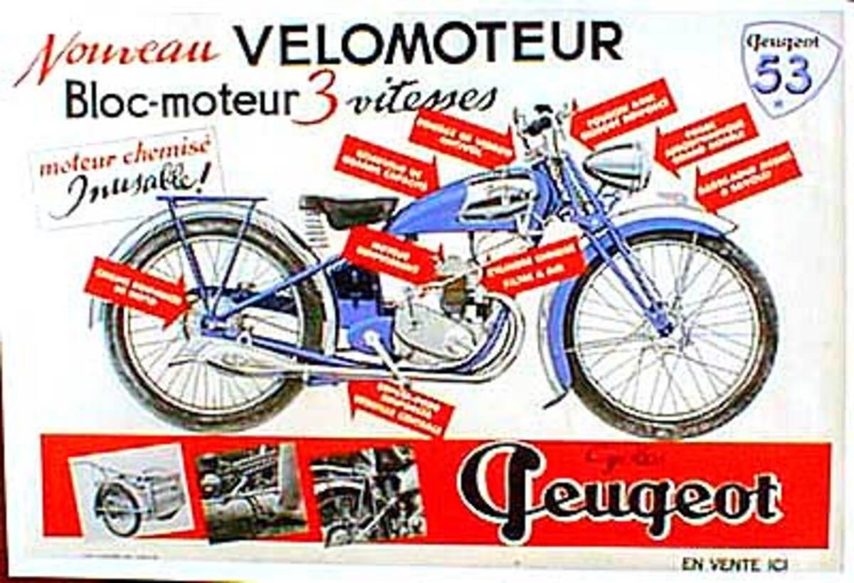 Peugeot Motocycle Original Vintage Poster 1953 Model