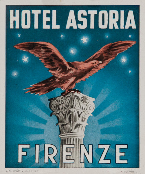 Hotel Astoria Firenze Italy Luggage Label