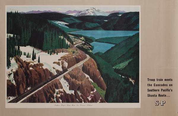 Southern Pacific Railroad WWII Poster, Troop trains meet the Cascades..