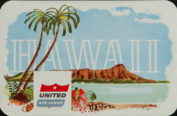 Hawaii United Airlines Luggage Label Diamond Head