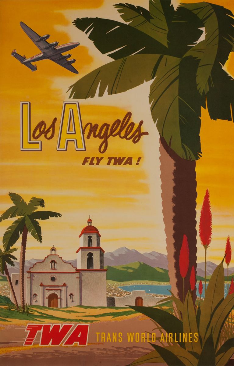 Los Angeles Fly TWA! Trans World Airlines .Mission and palm tree