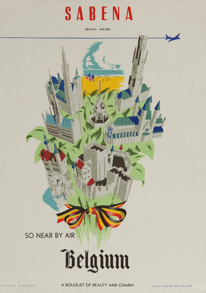 Sabena So Near by Air, small sized travel poster