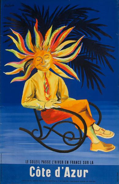 Le Soleil Passe L'Hiver en France Sur La Cote d'Azur French Travel Poster