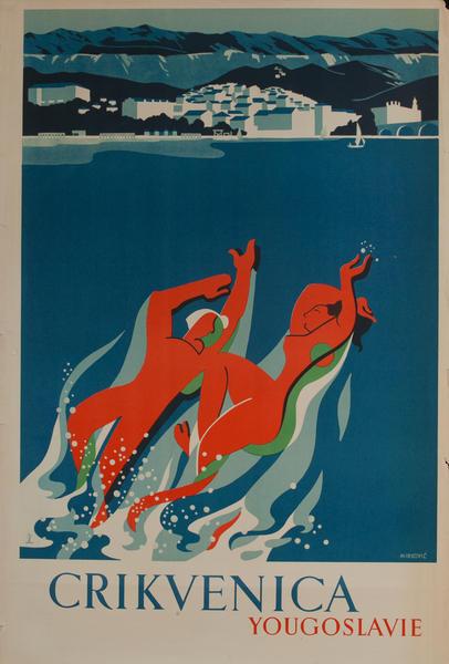 Crikvenica Yougoslavie Travel Poster Yougoslavia