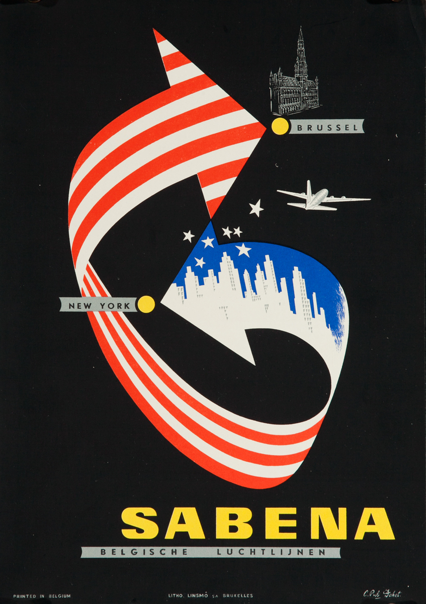 Sabena Brussels New York, small sized travel poster