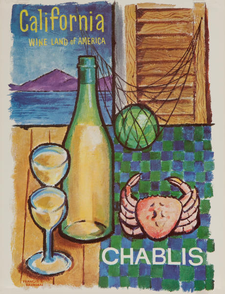 California WIne Land of America Advertising Poster Chablis