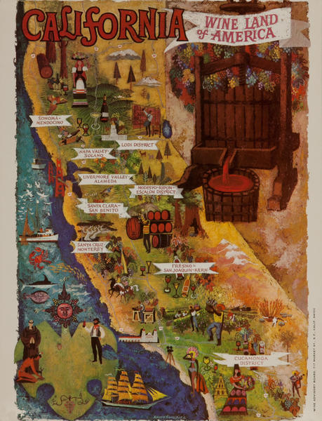 California WIne Land of America Advertising Poster State Map