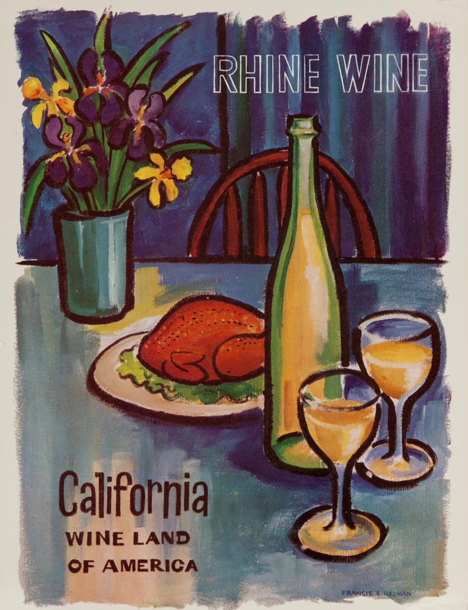 California WIne Land of America Advertising Poster Rhine Wine