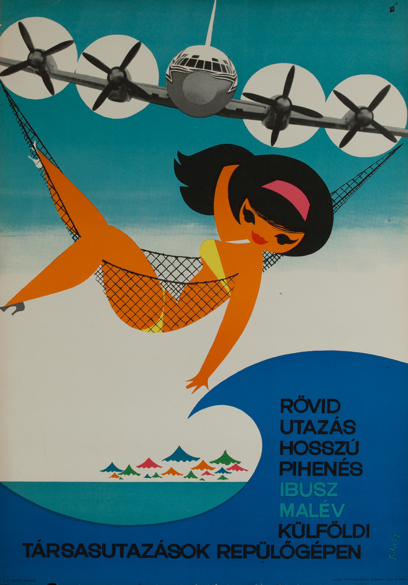 Malev Hungarian Airline Travel Poster Short Travel Long Relaxation