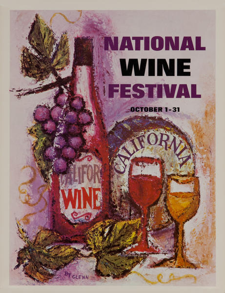 California WIne Land of America Advertising Poster National Wine Festival