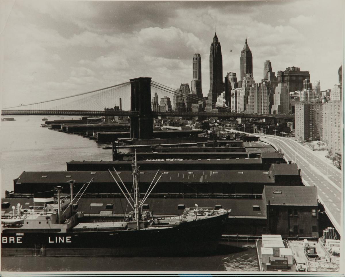 Al Macy Vintage Silver Gelatin Print, Brooklyn Bridge and Docks