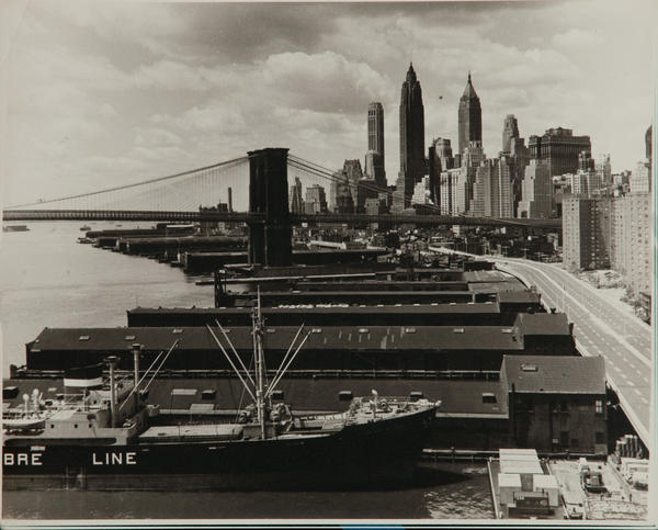 Al Macy Vintage Silver Gelatin Print, Brooklyn Bridge and Docks