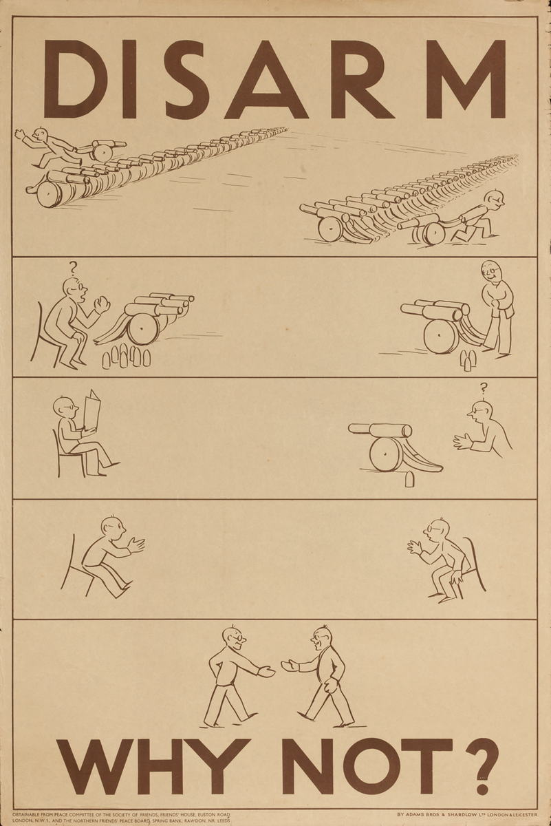 Disarm - Why Not?   post-WWI Society of Friends Peace Movement Poster