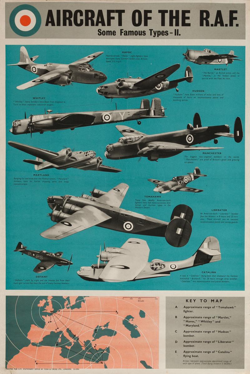 Aircraft of the RAF  Royal Air Force. Original World War Two poster