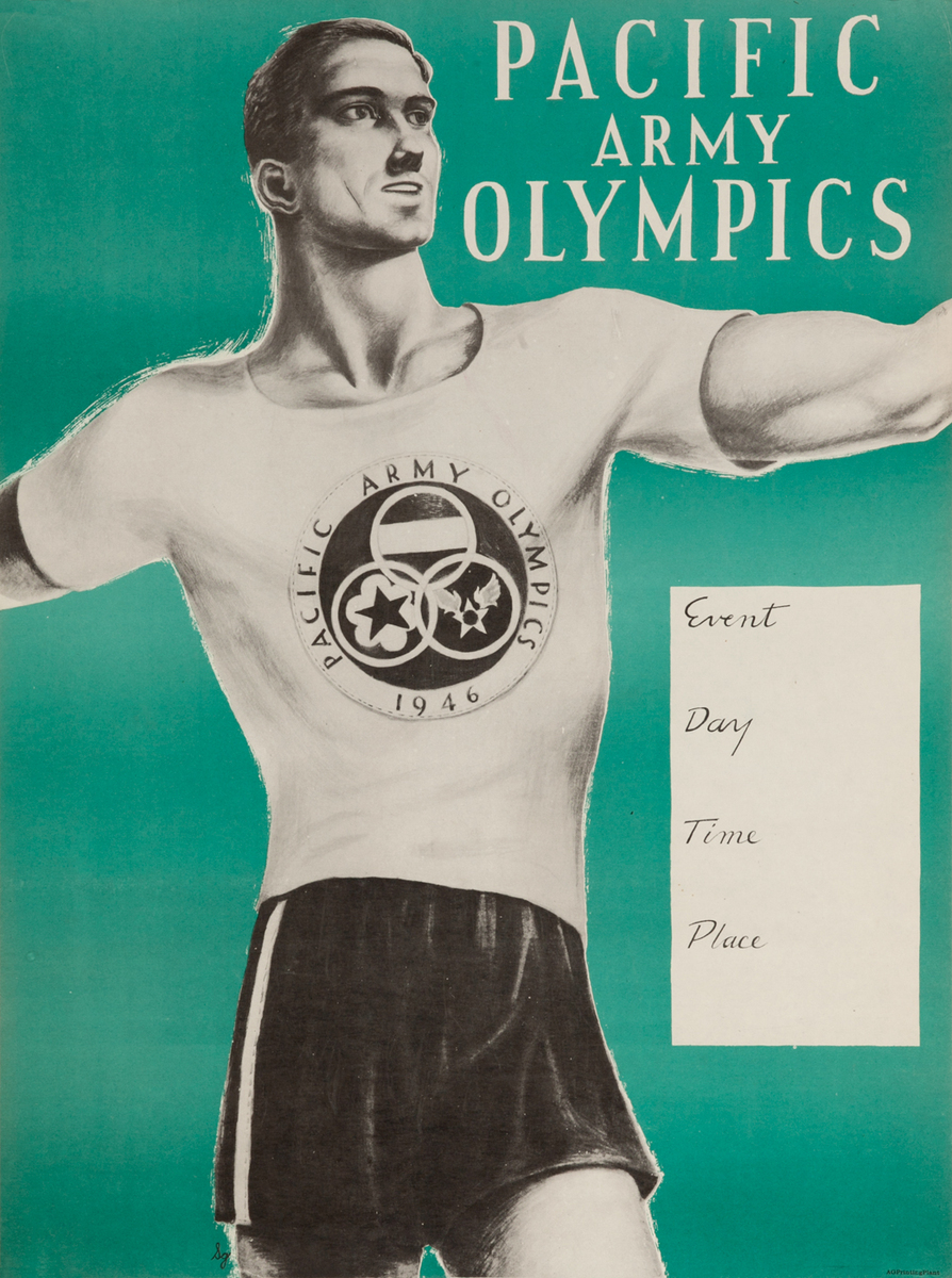 Pacific Army Olympics post WWII American Poster