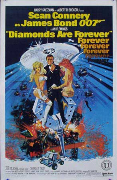 James Bond 007 Diamonds Are Forever Indian  Release Vintage Original Movie Poster