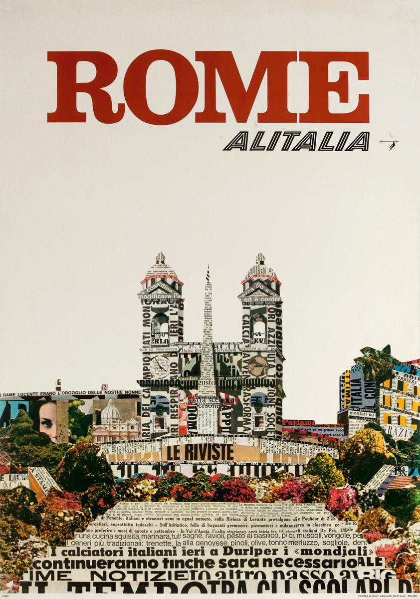 Alitalia Original Travel Poster, Rome