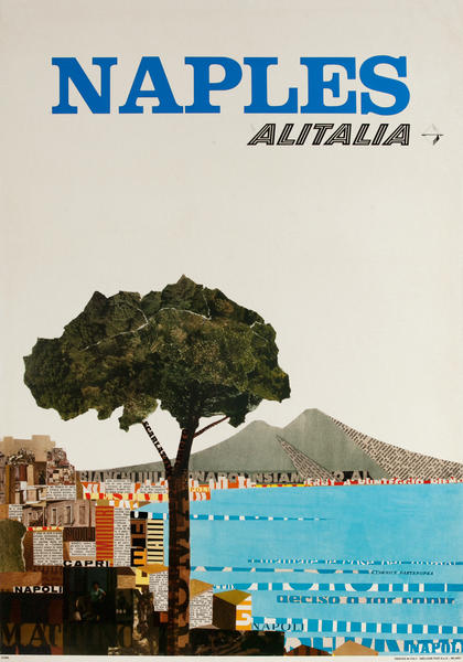 Alitalia Original Travel Poster, Naples