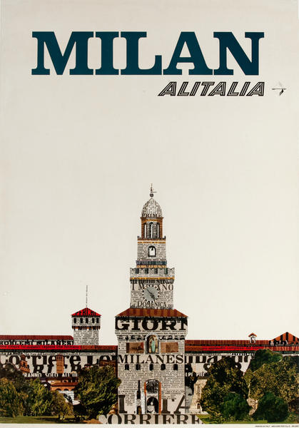 Alitalia Original Travel Poster,  Milan