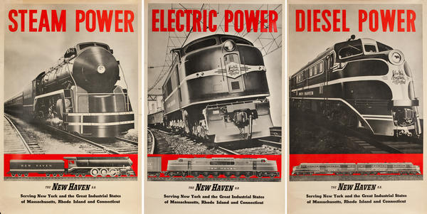 Steam Electric Diesel Power The New Haven Rail Road Travel Posters
