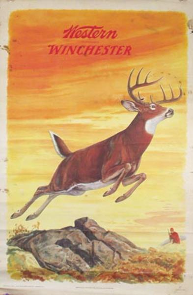 Original Western Winchester Ammo Advertising Poster Buck