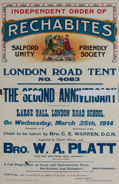 Independent Order of Rechabites Meeting Poster, London Road Tent, No 4083