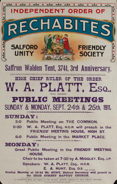 Independent Order of Rechabites Meeting Poster, W.A. Platt, Public Meetings
