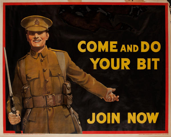 Come and Do Your Bit, Join Now, British WWI Recruiting Poster