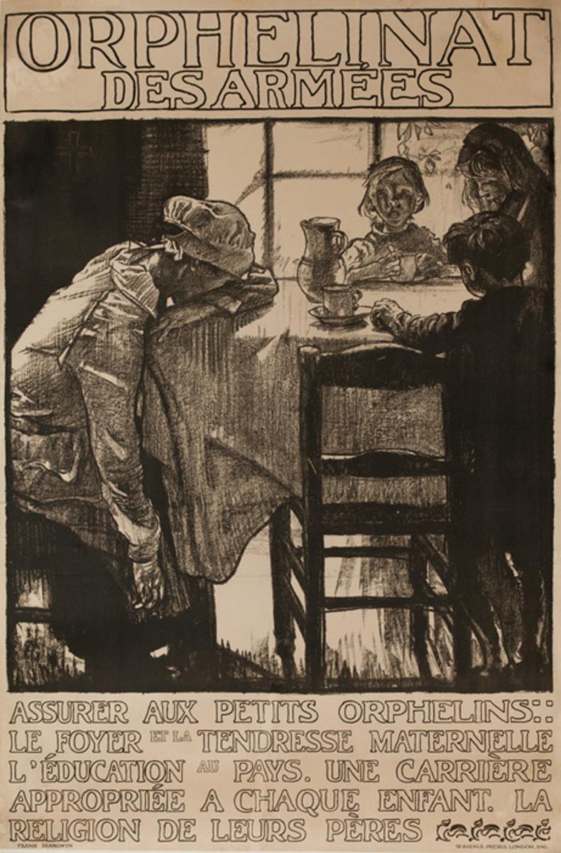 Orphelinat des armée, empty table, British WWI Poster