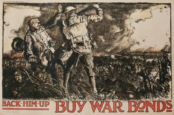Back Him Up Buy War Bonds Original British WWI Poster