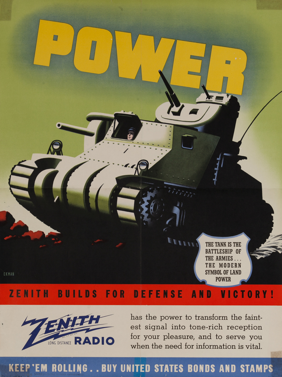 Power Zenith Radio WWII Bond Poster