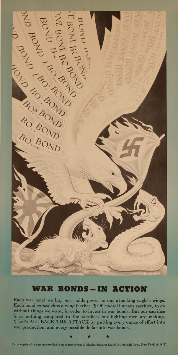 War Bonds in Action, Wickwire Steel Company Poster