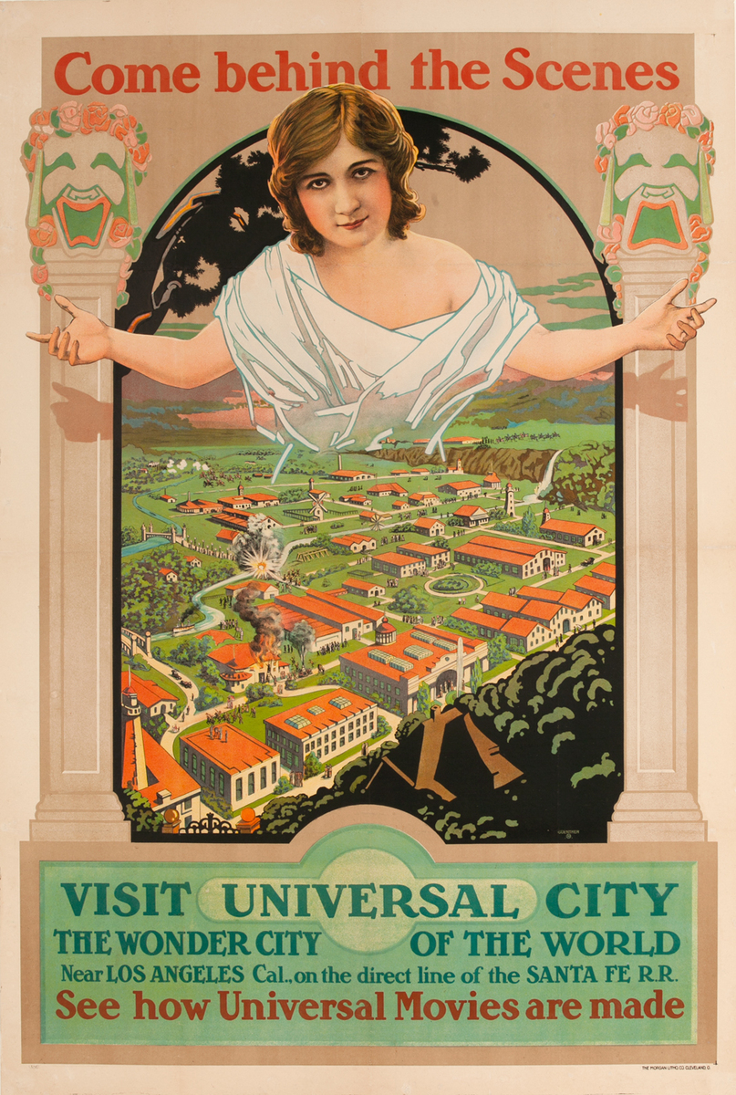 Come Behind the Scenes, Visit Universal City, Santa Fe RR Travel Poster