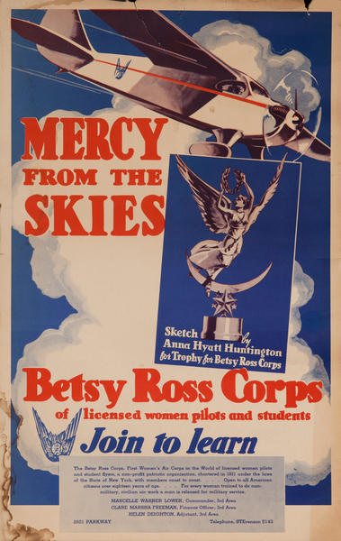 Mercy From the Skies, Betsy Ross Corps, pre-WWII Women Pilot Recruiting Poster