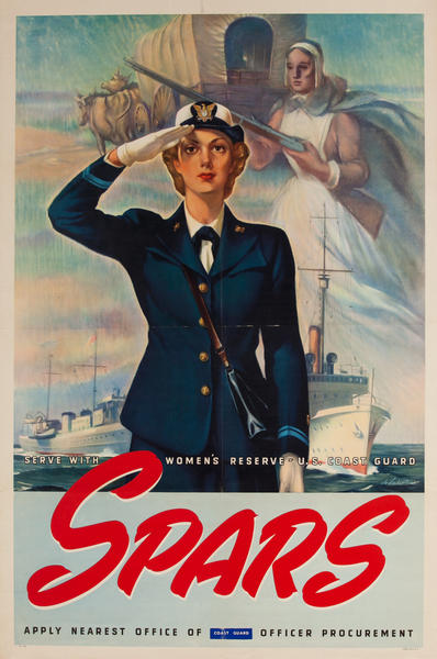 Serve With Women's Reserve - U.S. Coast Guard, WWII and Recruiting Poster, pilgrim