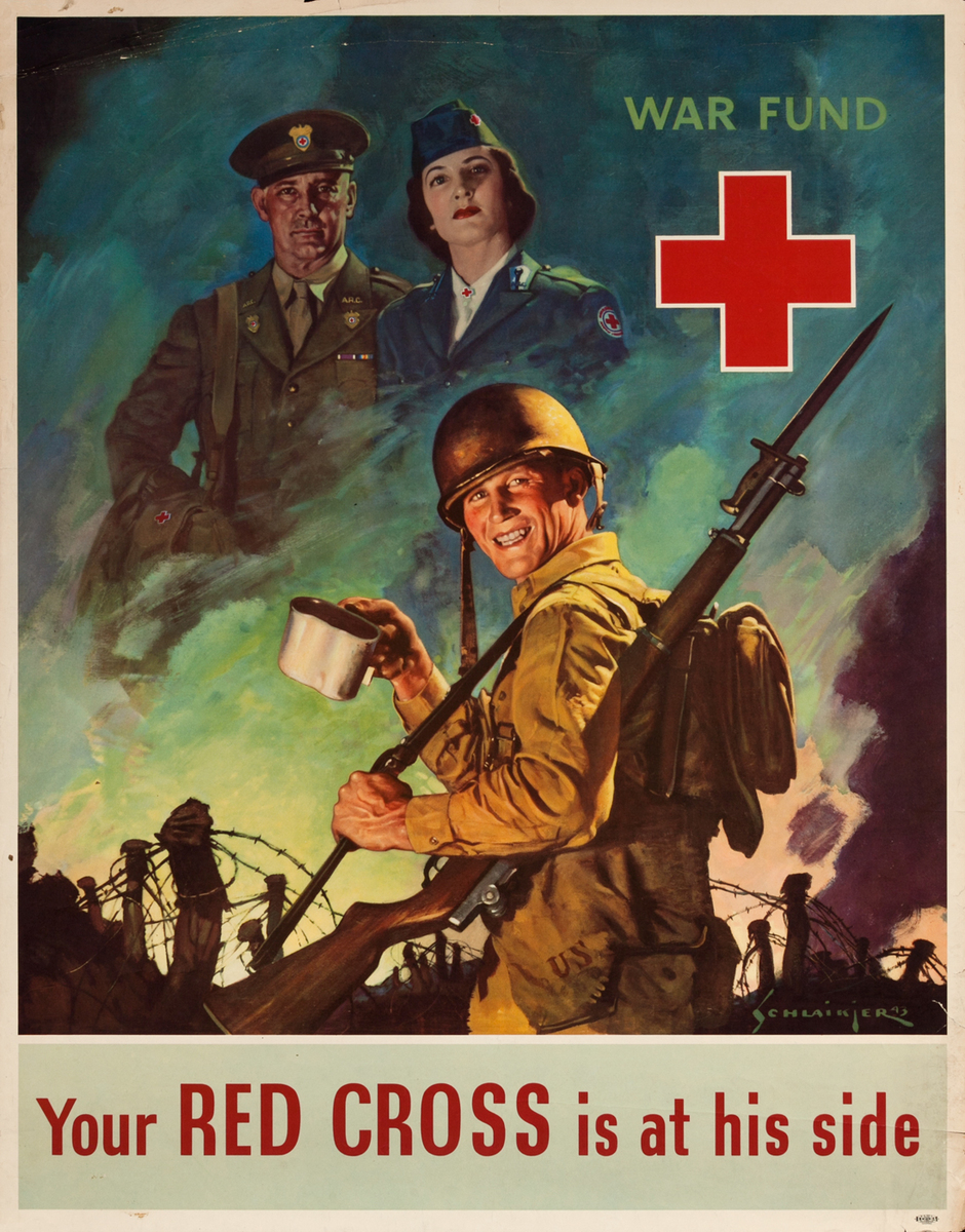 Your Red Cross is at his side, WWII War Fund Poster