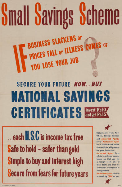 Small Saving Scheme Indian WWII National Savings Certificates Poster