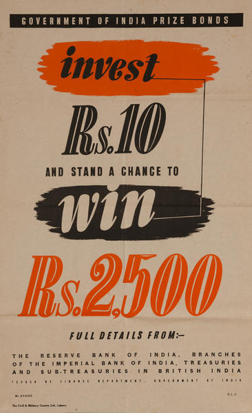 Indian WWII Bond Poster, Invest Rs. 10