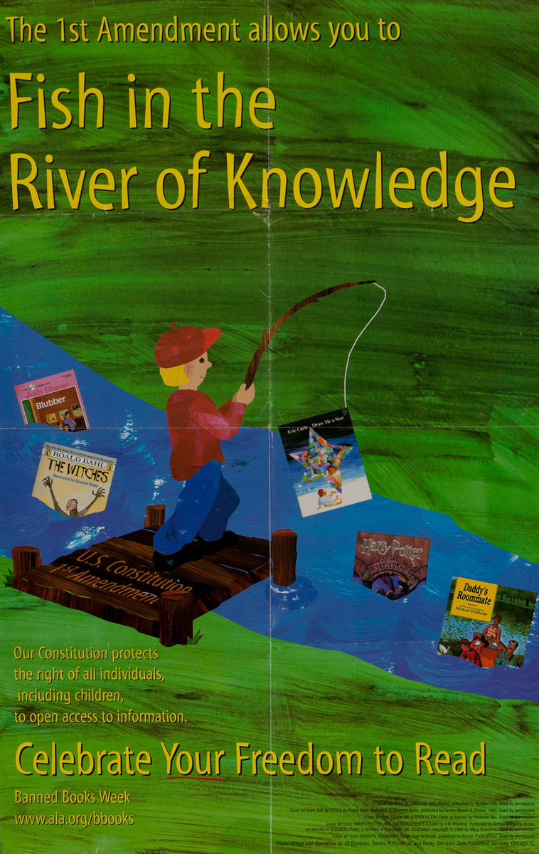 Banned Book Week Poster- Fish in the river of knowledge