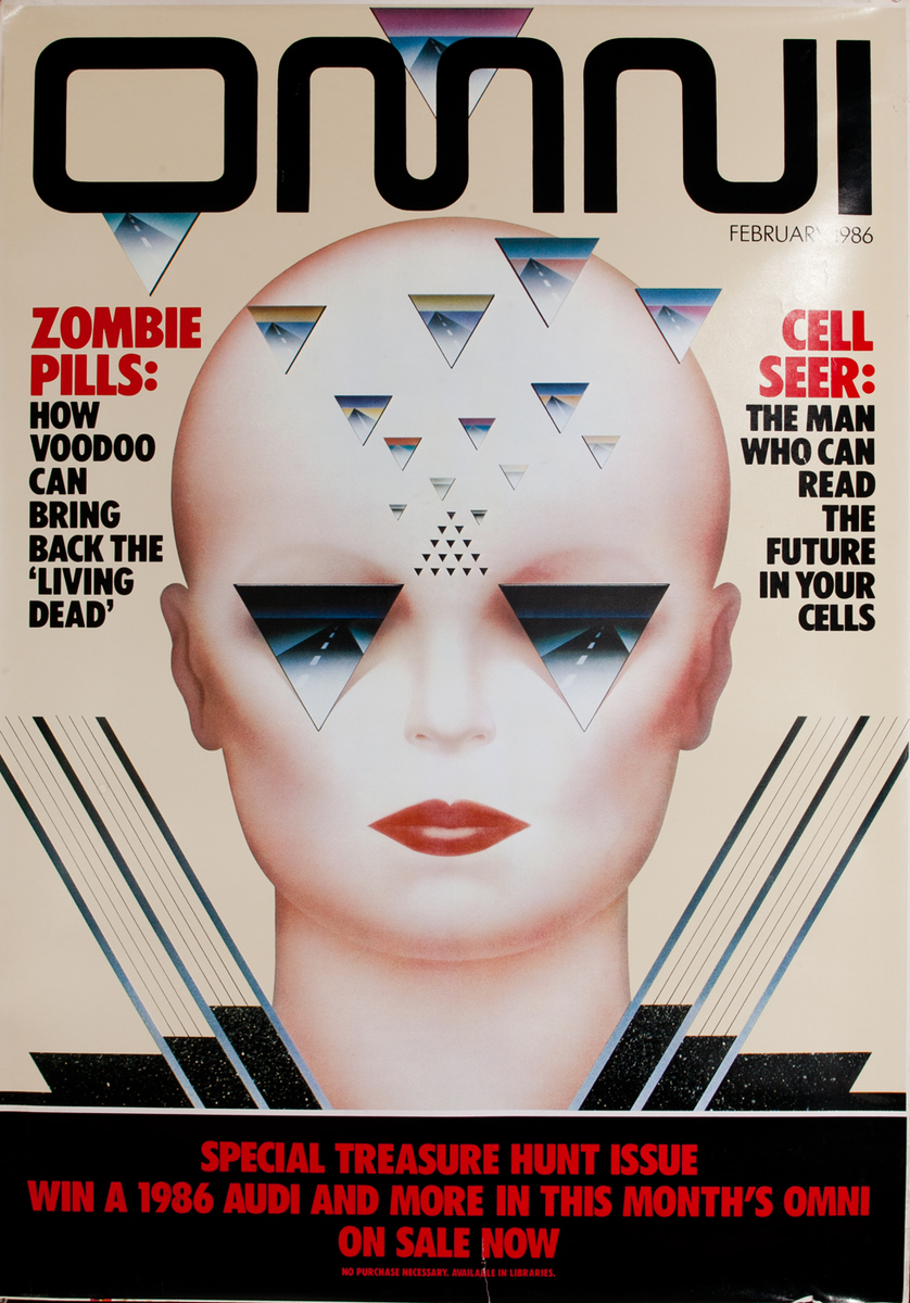 Omni Magazine Bus-shelter Advertising Poster, Zombie Pills