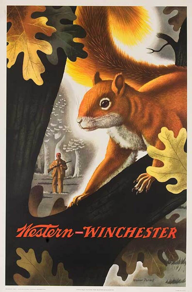Western Winchester Ammo Advertising Poster Squirrel
