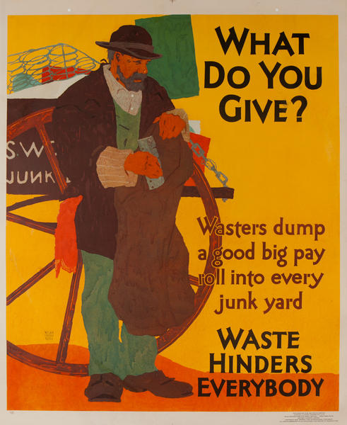 What do you Give? Waste Hinders Everybdy, Mather Work Incentive Poster
