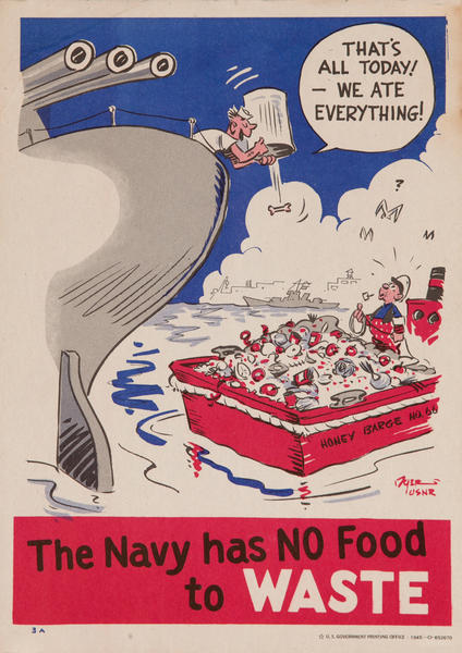 The Navy has NO Food to Waste! WWII Food Conservation Poster